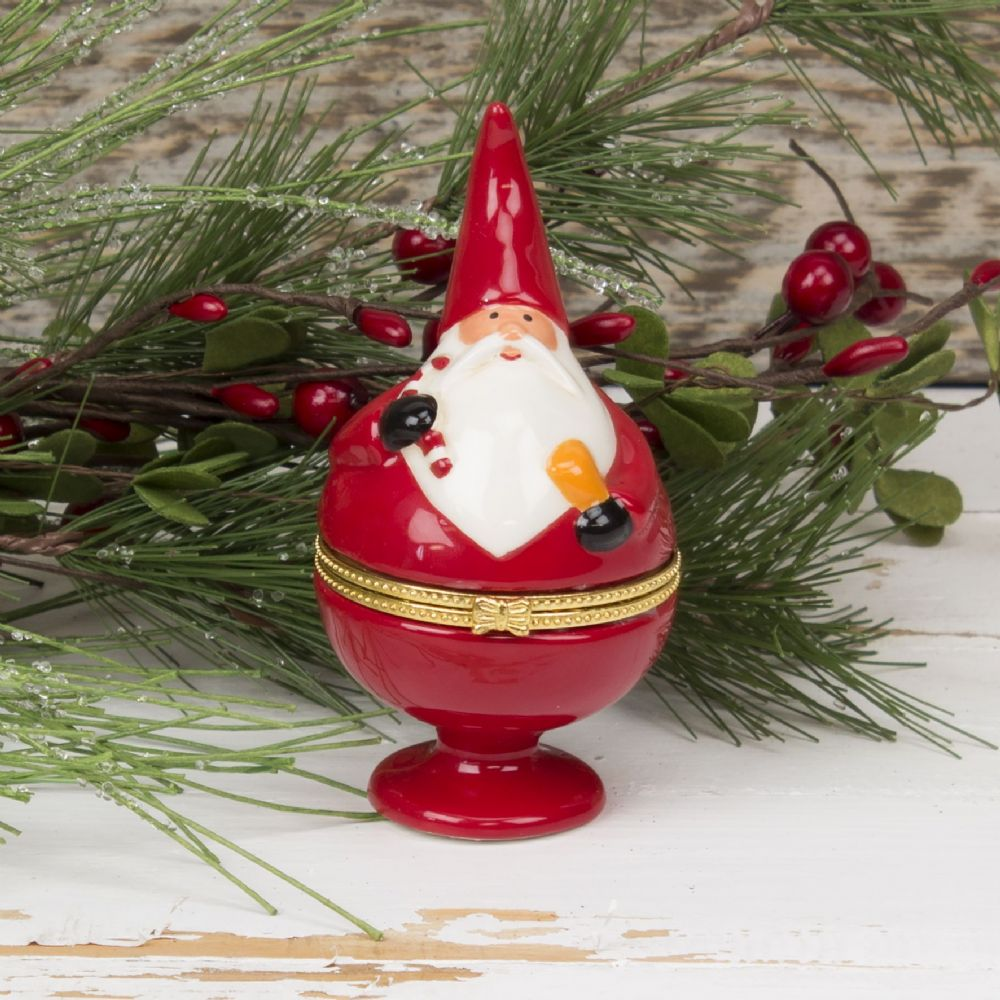 Ceramic Santa Christmas Trinket Box
